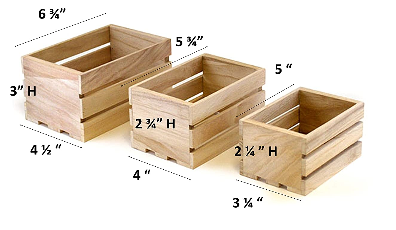 Multicraft Imports Small Wood Craft Crate Caddy Set (3/Pack) (4)