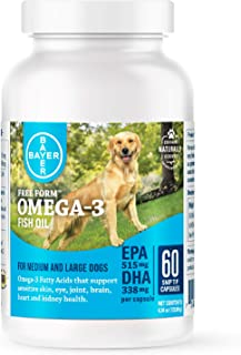 Bayer Free Form Snip Tips Omega-3 Supplement for Medium to Large Dogs, 60 count