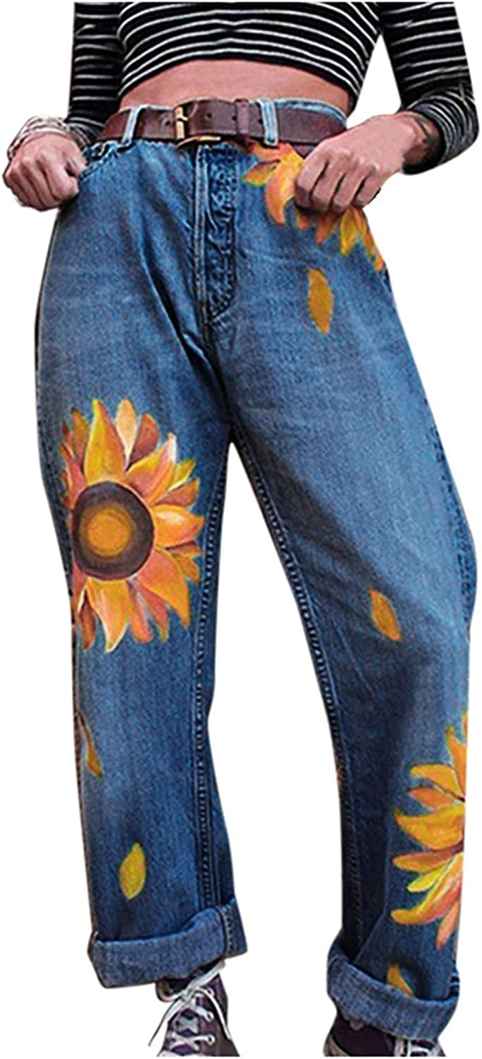 FUNEY Women's Comfy Stretch Washed Sunflower Printed Zipper Jeans Casual Long Wide Leg Lounge Denim Pants