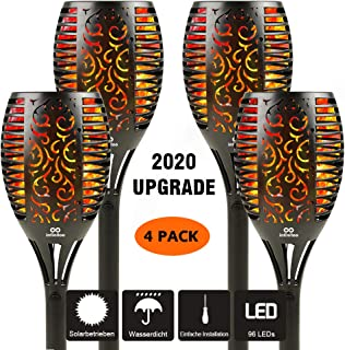 infinitoo Solar Torch Lights, 96 Led Waterproof Dancing Flickering Flame Solar Lights, 3 Ways Installation, Dusk to Dawn A...