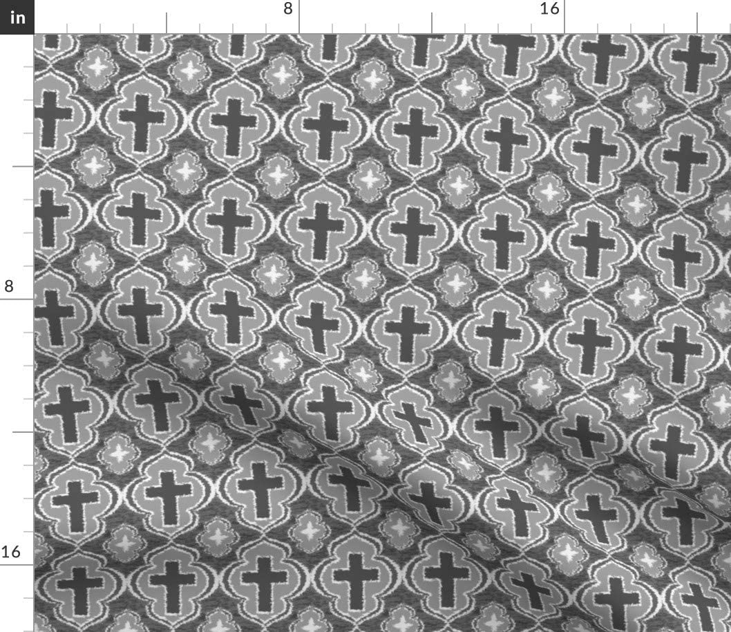 Spoonflower Fabric - Max 76% OFF Christian New product!! Cross Gray Bible Religion Religio