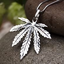 Large Marijuana Pot Leaf Necklace 925 Sterling Silver Cannabis Weed Pendant Hippie Party Choker Charm Rasta Hip Hop Yoga Jewelry Cool Gifts for Men Women Handcrafted