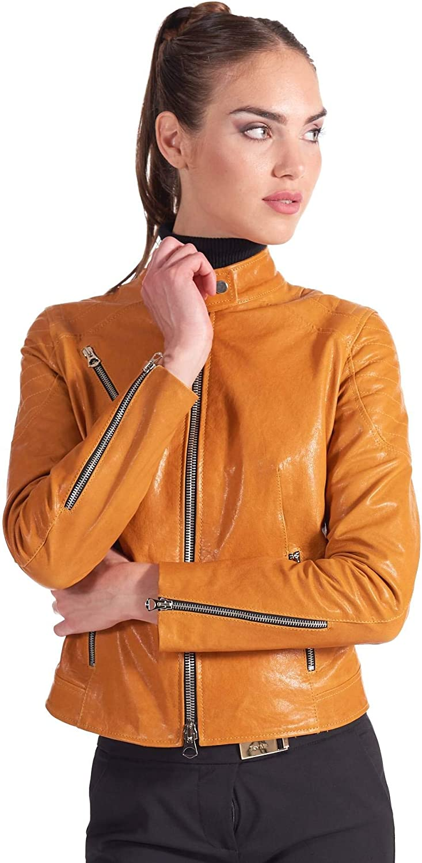 Ocher Quilted Washed Leather Biker Jacket Vintage Aspect