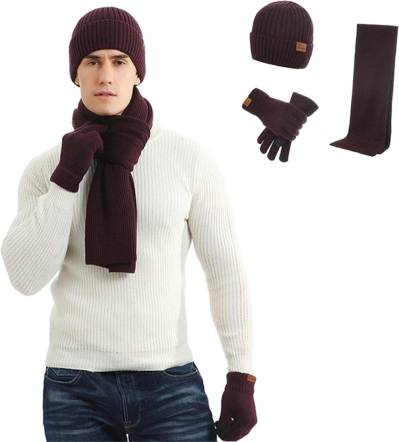Opening large release sale Men's Winter New arrival Beanie Hat Neck Touchscreen and Scarf Warmer Gloves