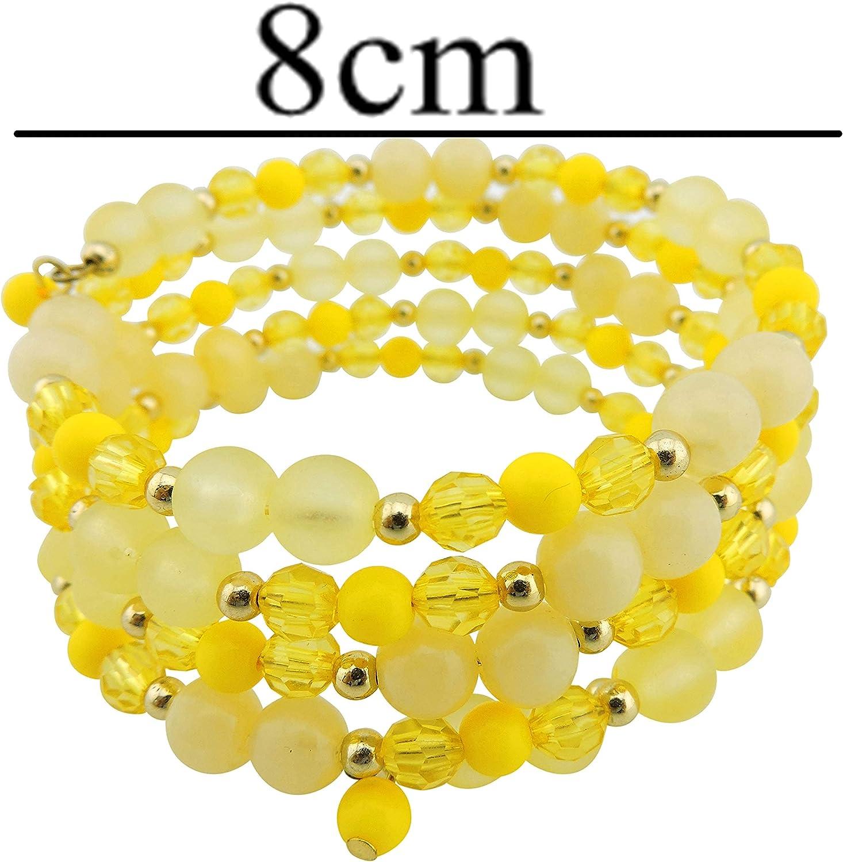 Coiris Multi Layers Statement Yellow Beaded Bracelet Adjustable Strand Bangle Bracelet for Women