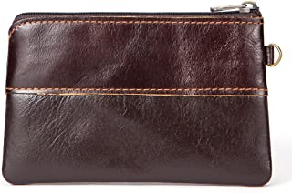 Fmeida Mens Leather Coin Purse Pouch Slim Change Credit Card Holder Wallet
