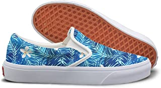 SEERTED Tropical Palms In Blue Leaves Flowers Canvas Shoes Women Slip On