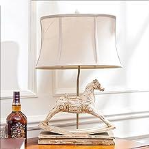 Modeen European American Village Resin Trojan T Table Lamp Living Room Bedroom Fabric Bedside Lamp Creative Decoration Tab...
