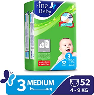 Fine Baby Diapers Mother's Touch Lotion, Medium 4-9 Kgs, Jumbo Pack, 52 Count