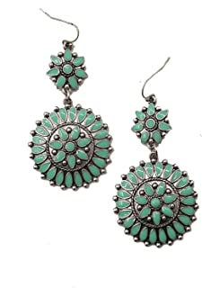 Jayde N' Grey Turquoise & Silver Color Western Navajo Squash Blossom Earrings Pierced