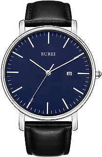 Reloj de pulsera analógico para hombre con fecha y correa de piel
