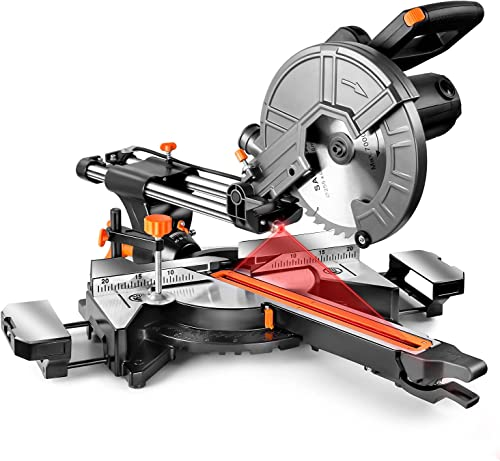 lowest Sliding Compound Miter Saw, 10-Inch, 15 Amp, 2 Variable Speeds (4500 & lowest 3200 lowest RPM) with Bevel Cut (0-45°), 3 Blades (2 40T 1 48T), Laser Guide, Iron Blade Guard, Extension Table Included-EMS01A sale