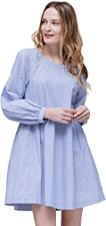 Pleione Linen Tied Back Flared Solid Tunic Dress in Long Sleeve