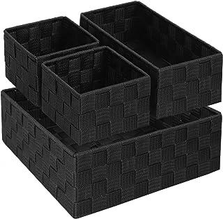 Lot de 4 paniers de rangement pour étagère de salle de bain avec cadre en métal résistant - Noir
