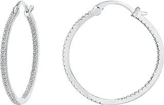 14K Gold Plated 925 Sterling Silver Post Cubic Zirconia Hoop Earrings 30/15mm
