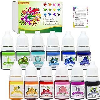 12 Color Bath Bomb Soap Dye - Skin Safe Bath Bomb Colorant Food Grade Coloring for Soap Making Supplies, Natural Liquid So...
