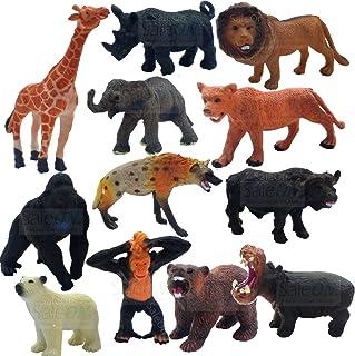 SaleOn Set of 12 Animal Toy Figure Wild-Life Animal Children Puzzle Early Education Gift Mini Jungle Animal Toy Set Realis...