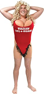 Mens Fancy Party Naughty & Sexy Hairy Mary Anita Waxin Lifeguard Complete Outfit Red