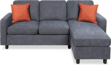 Best Choice Products Linen Sectional Sofa for Home, Apartment, Dorm, Bonus Room, Compact Spaces w/Chaise Lounge, 3-Seat, L...