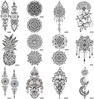 12 Pieces/Lot Sexy Mandala Flower Henna Temporary Tattoos Stickers Cover 10x6CM Women Girls Bohemia Body Arm Art Waterproo...
