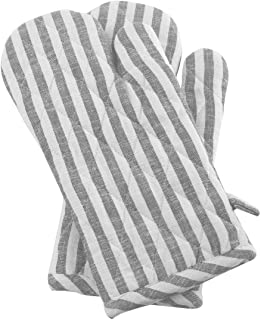 Cote De Amor Set of 2 Oven Mitts Gloves Bulk Heat Resistant and Machine Washable, 100% Cotton Farmhouse Stripe Oven Mitts for Everyday Kitchen Cooking Baking BBQ, Light Grey