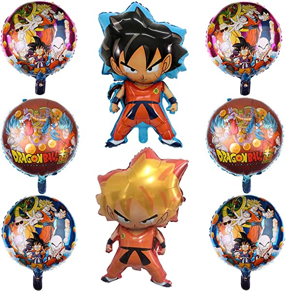 8 Pcs Dragon Ball Z Balloons Birthday Celebration Foil Balloon Set Double Side DBZ Super Saiyan Goku Gohan Character Party Decorations