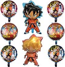 8 Pcs Dragon Ball Z Balloons,Birthday Celebration Foil Balloon Set,Double Side DBZ Super Saiyan Goku Gohan Character Party Decorations