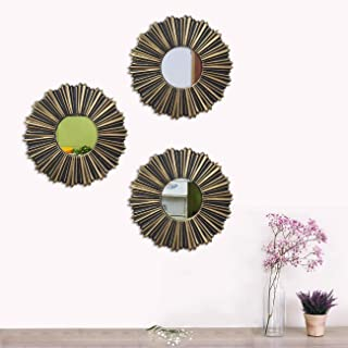 Art Street -Set of 3 Copper Mirror for Livingroom Wall Mirror,Decorative in Round Shape (8 x 8 Inchs)