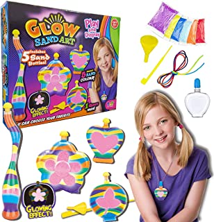 Liberty Imports Glow in The Dark Sand Art Kit for Kids - DIY Arts and Crafts Activity for Kids - Includes 5 Sand Colors, 1 Glow Sand, 5 Sand Art Bottles, and More