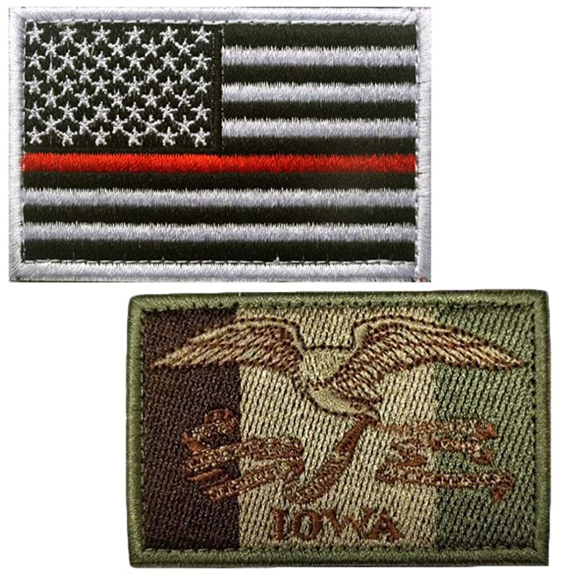 Embroidery USA Flag and Iowa Flag Patch (Color 6)