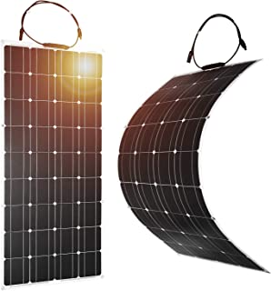 DOKIO 2pcs Solar Panel 100W 12V Bendable Semi-Flexible Thin Film Monocrystalline Lightweight for Caravan RV Boat Camper Any Other Irregular Surface