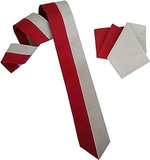 Cravatta e pochette in cotone rossa e grigia cucita a mano 6 cm linea P/E 2021