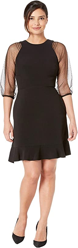 Mesh Sleeve Fit and Flare Dress