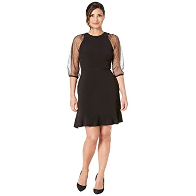Laundry by Shelli Segal Mesh Sleeve Fit and Flare Dress (Black) Women