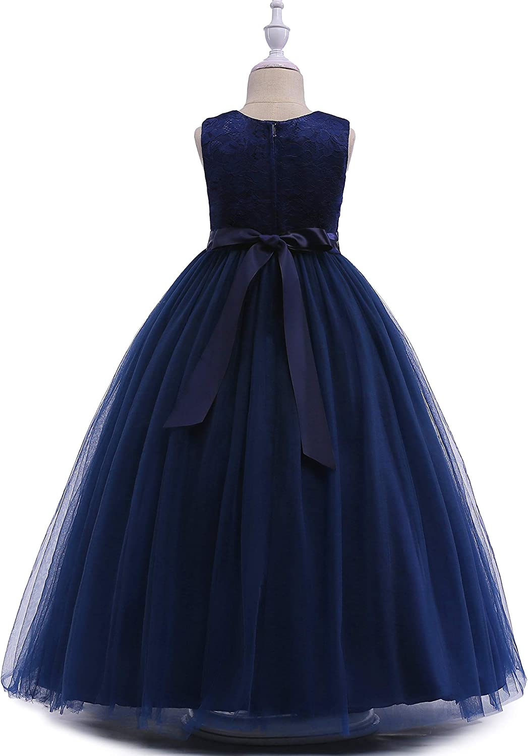 Glamulice Girls Lace Bridesmaid Dress Long A Line Wedding Pageant Dresses Tulle Spaghetti Strap Party Gown Age 3-16Y