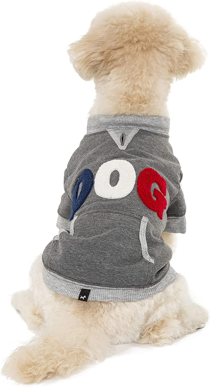 Hotel Doggy Dog Fleece Sweatshirt, Grey Cotton Polyester Dog Sweater Small