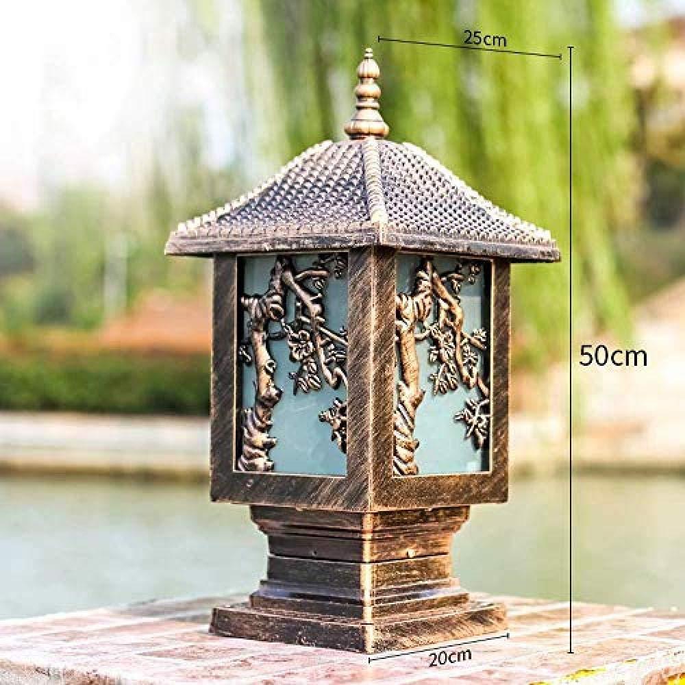 Farola de jardín tradicional lámpara de calle de aluminio fundido a presión lámpara cilíndrica farola de jardín para farolas de exterior -Bronzeh50cm: Amazon.es: Iluminación
