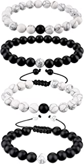 BBTO Howlite Bracelet Black Matte Agate Bracelet Couples Bracelet Distance Bracelet Energy Beads Bracelet (Style Set 1, 4 Pieces)