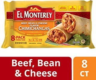 El Monterey Beef, Bean and Cheese flavor Chimichangas – Family Pack of 8 Frozen Chimichangas, Made with Real Beef, Perfect for Quick Family Meals (8 Count)