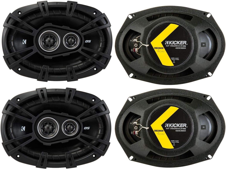 KICKER 43DSC69304DS 6x9 720 Watt 3-Way 4-Ohm Car Audio Thin Profile Coaxial Speakers with Dome Tweeters, Foam Surrounds & Polypropylene Cone, 2 Pairs