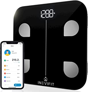 INEVIFIT Smart Body Fat Scale, Highly Accurate Bluetooth Digital Bathroom Body Composition Analyzer, Measures Weight, Body Fat, Water, Muscle, Visceral Fat & Bone Mass for Unlimited Users (Black-s)