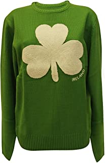 Green Colour Other Brands Round Neck Ireland Knitted Sweater with Fluffy Shamrock