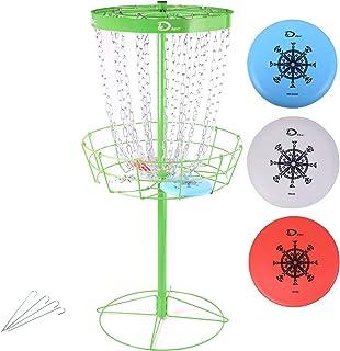 Disc Golf Basket Portable Metal Disc Golf Target Flying Disc Golf Practice Basket Indoor & Outdoor, Pro 24-Chain Portable ...