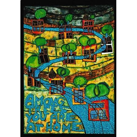 "Negative Menschenhäuser/"" Kunstkarte Hundertwasser /""Positive Seelenbäume"