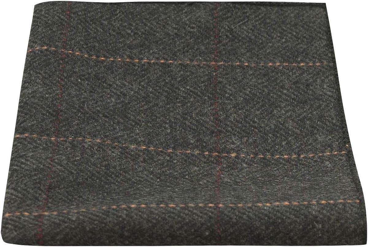 Luxury Herringbone Charcoal Grey Tweed Pocket Square, Handkerchief