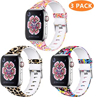 Laffav Floral Band Compatible with Apple Watch 40mm 38mm 44mm 42mm for Women Men, Soft Sport Pattern Replacement Waterproof Strap Compatible with iWatch Series 4 3 2 1, S/M M/L