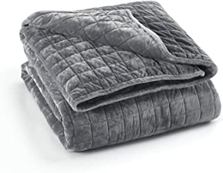 Weighted Heavy Blanket Cover (Dark Grey Minky Square Quilted, 60''x80'' Duvet Cover)