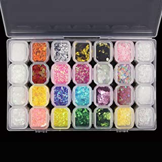 28 Boxes Nail Glitter Chunky Sequins Iridescent Flakes Ultra-thin Tips Colorful Mixed Paillette with Craft Containers, Face Body Hair Nail Art by Magicdo