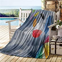 Mademai Colorful Baby Blankets for Boys,Parasols on Foreground of Dark Cumulus Rain Clouds Windy Stormy Day Shield Image,Kids Blanket Multicolor 70