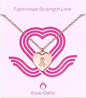 Breast Cancer Awareness Necklace for Women, 14K Gold Plated Sterling Silver Girls Heart Pendant Hope Faith Strength Courage Necklace Jewelry Gift